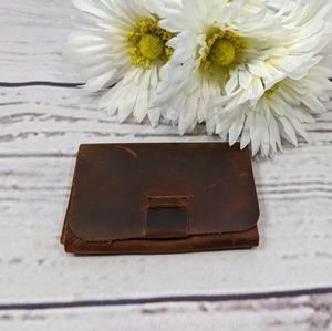 Brown Distressed Leather Snap Wallet/Card Holder
